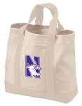 Northwestern University Tote Bags NATURAL CANVAS