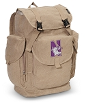 Northwestern University LARGE Canvas Backpack Tan