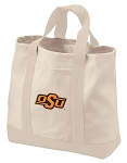 Oklahoma State Tote Bags NATURAL CANVAS