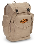 Oklahoma State LARGE Canvas Backpack Tan