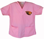 Oregon State University Beavers Pink Scrubs Tops SHIRT