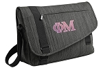 Phi Mu Messenger Laptop Bag Stylish Charcoal