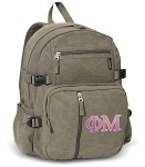 Phi Mu Canvas Backpack Olive