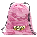 Southern Miss Drawstring Backpack Pink Camo