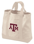 Texas A&M Tote Bags NATURAL CANVAS