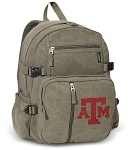 Texas A&M Canvas Backpack Olive