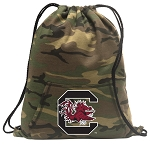 South Carolina Drawstring Backpack Green Camo