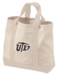 UTEP Tote Bags NATURAL CANVAS