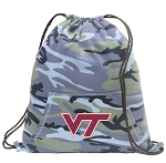 Virginia Tech Drawstring Backpack Blue Camo