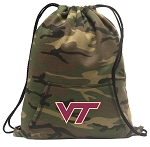 Virginia Tech Drawstring Backpack Green Camo