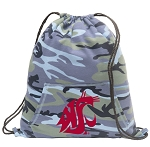 Washington State Drawstring Backpack Blue Camo