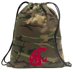 Washington State Drawstring Backpack Green Camo