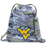 West Virginia Drawstring Backpack Blue Camo
