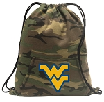 West Virginia Drawstring Backpack Green Camo