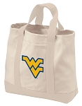 West Virginia University Tote Bags NATURAL CANVAS