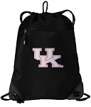 Pink UK Wildcats Logo Drawstring Backpack-MESH & MICROFIBER