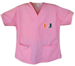 University of Miami Pink Scrubs Tops SHIRT