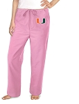 University of Miami Pink Scrubs Pants Bottoms