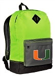 University of Miami Backpack HI VISIBILITY Green Miami Hurricanes CLASSIC STYLE