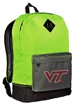 Virginia Tech Hokies Backpack HI VISIBILITY Green Virginia Tech CLASSIC STYLE