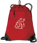 Washington State Drawstring Backpack MESH & MICROFIBER Red