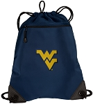West Virginia Drawstring Backpack-MESH & MICROFIBER Navy