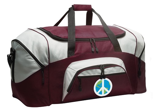 Peace Sign Duffle Bag Maroon