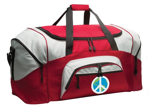 World Peace Duffle Bag or Peace Sign Gym Bags Red
