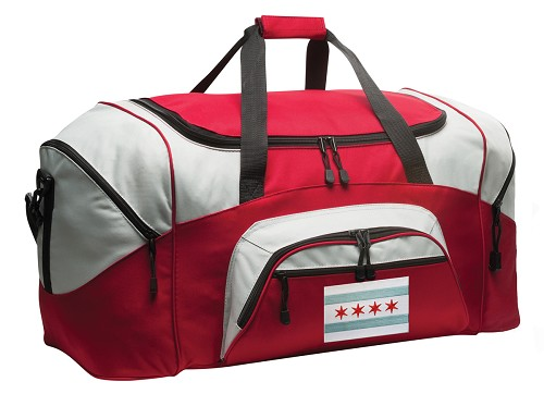 Chicago Flag Duffle Bag Red