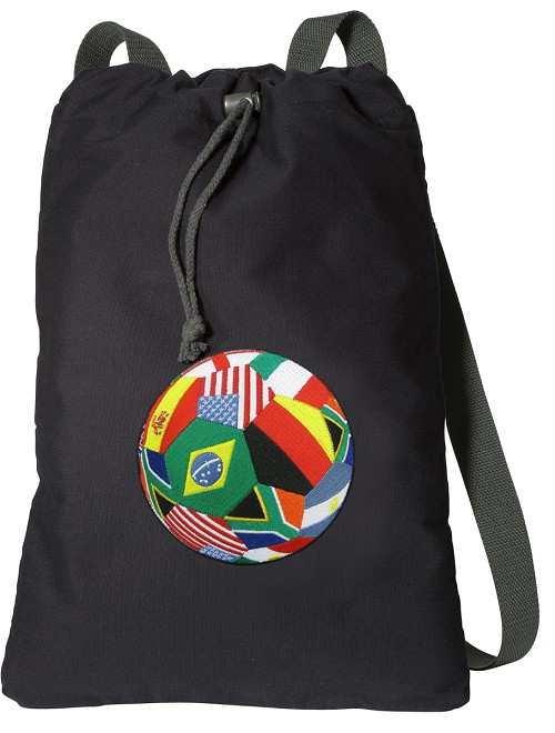 World Flag Soccer Cotton Drawstring Bag