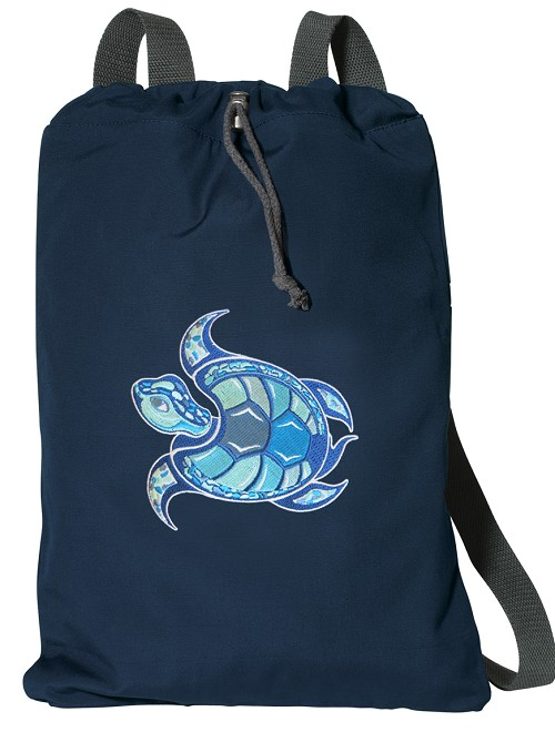 Sea Turtle Cotton Drawstring Bag Backpacks RICH NAVY