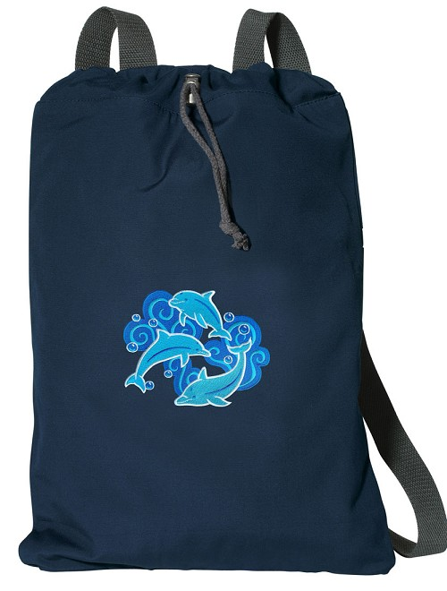 DOLPHINS Cotton Drawstring Bag