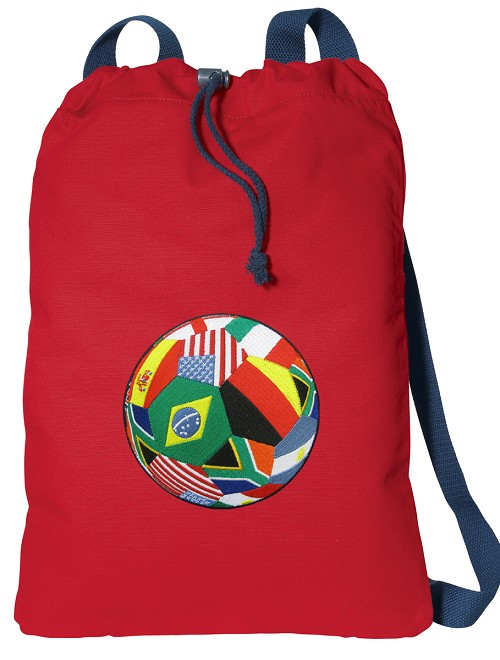 World Cup Soccer Drawstring Bag Red