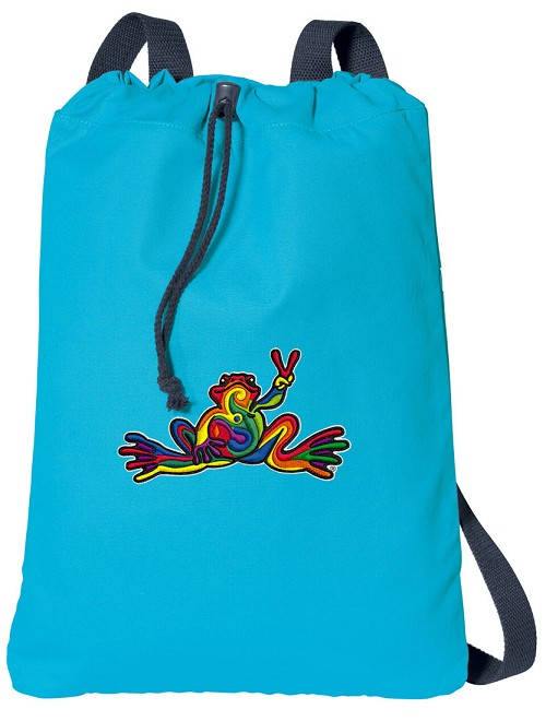Peace Frogs Cotton Drawstring Bag