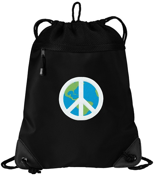 Peace Sign Drawstring Backpack-MESH & MICROFIBER