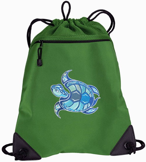 Sea Turtle Drawstring Backpack Mesh and Microfiber