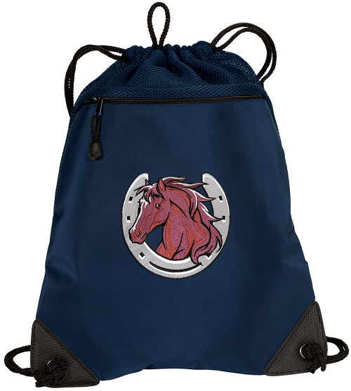 Horse Drawstring Backpack-MESH & MICROFIBER Navy