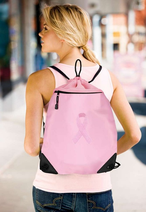 Pink Ribbon Drawstring Bag Backpack