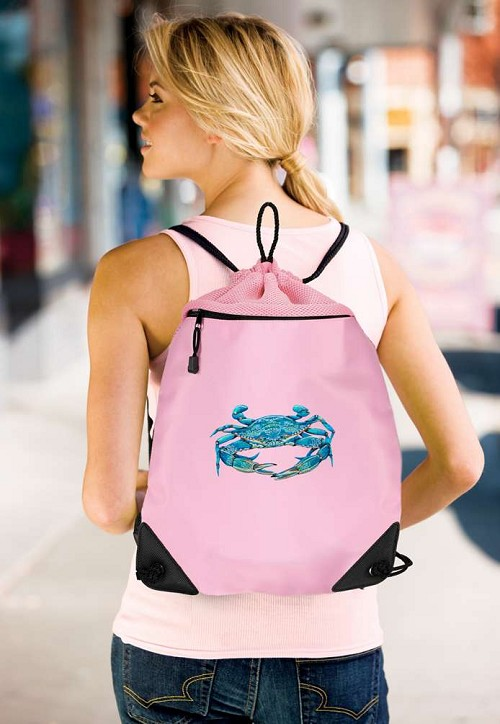 BLUE CRAB Drawstring Bag Pink Backpack