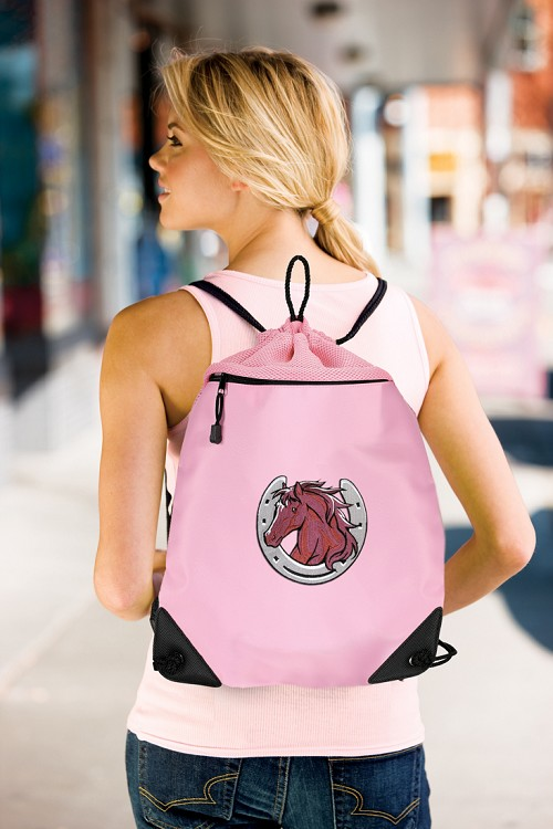 Horse Lover Drawstring Bag Pink Backpack