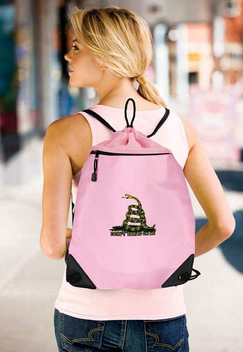 Don't Tread on Me Drawstring Bag Mesh and Microfiber Pink