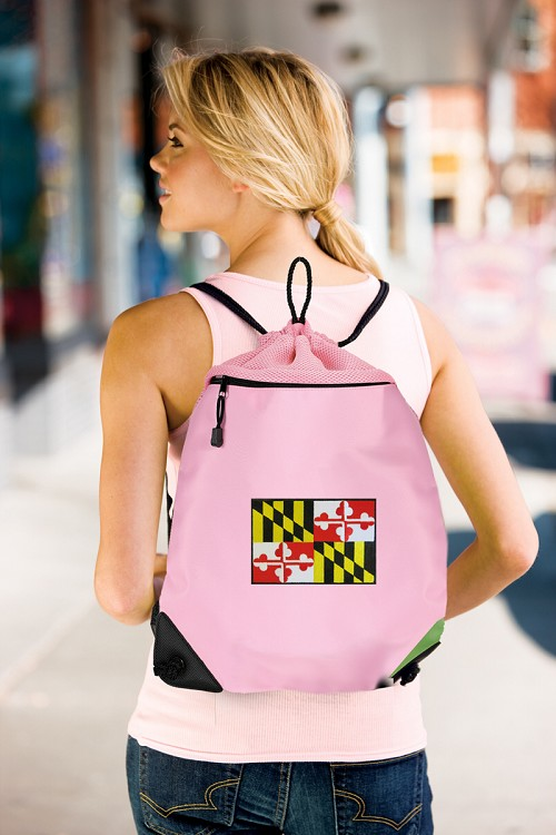 Maryland Drawstring Bag Mesh and Microfiber Pink