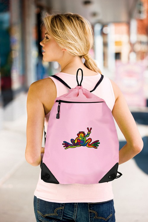 Peace Frogs Drawstring Bag Mesh and Microfiber Pink