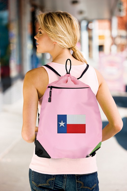 Texas Flag Drawstring Bag Mesh and Microfiber Pink