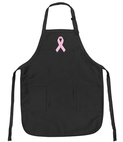 Deluxe Pink Ribbon Apron Black