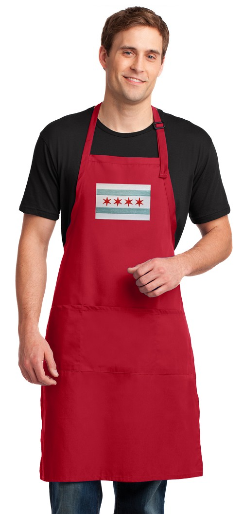 Chicago Flag Large Apron Red