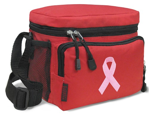 Pink Ribbon Lunch Box Cooler Bag Insulated Red