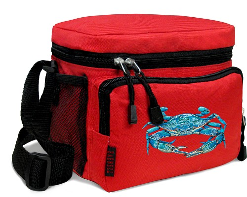 BLUE CRAB Lunch Box Cooler Bag Insulated Red