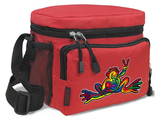 Peace Frogs Lunch Box Cooler Bag Insulated Red