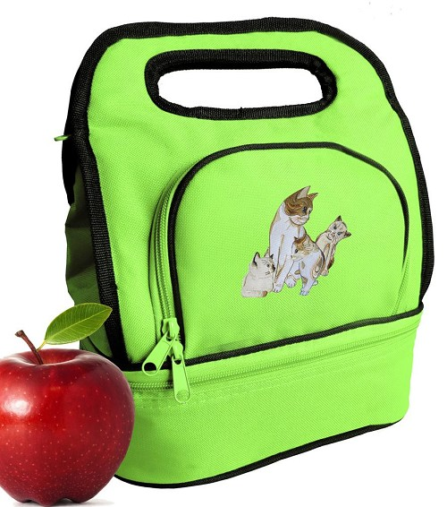 Cute Cats Lunch Bag Green